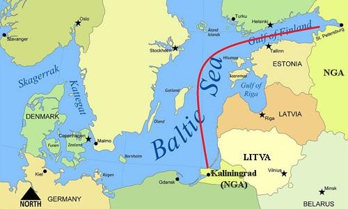 Đường bay của phi cơ Nga để tới vùng lãnh thổ Kaliningrad. Đồ họa: Wikia.