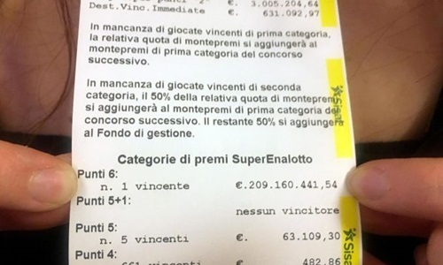 Tấm vé độc đắc hơn 200 triệu USD ở Italy có chủ - ảnh 1