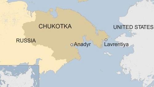 Vị trí sân bay Anadyr của Nga. Đồ họa: BBC.
