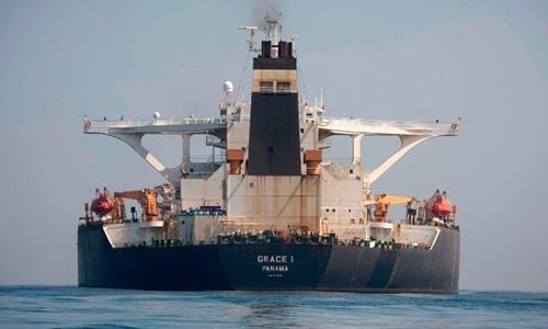 Siêu tàu chở dầu Grace 1 tại vùng biển của Gibraltar hôm nay. Ảnh: AP.