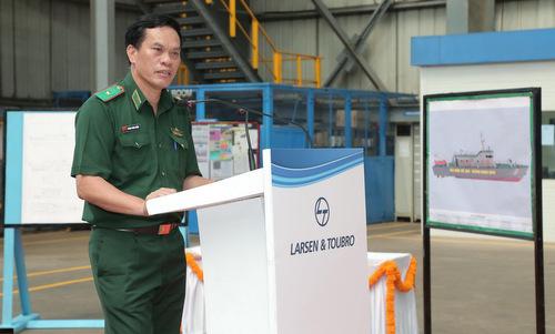 Thiếu tướng Hoàng Đăng Nhiễu phát biểu tại lễ khởi công hôm 14/8. Ảnh: TTXVN.