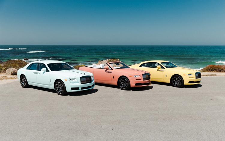 Ba mẫu Rolls-Royce đặc biệt thuộc bộ sưu tập 13 mẫu Bespoke lấy cảm hứng từ các ngọn đồi, cát và biển ở Pebble được hãng xe siêu sang mang đến giới thiệu tại tuần lễ Monterey năm nay.