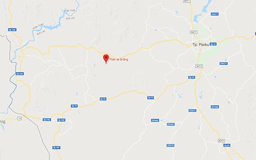 Vị trí thác nướcxã Ia Grang. Ảnh: Google maps.