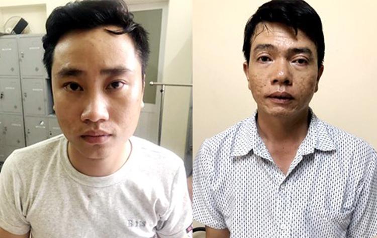 Đỗ Văn Tuấn (trái) và Trịnh Đức Hùng tại cơ quan điều tra. Ảnh:Công an cung cấp.