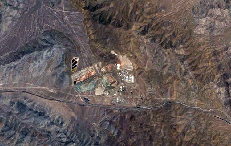 Quang cảnh mỏ khai khoáng Mountain Pass ở California ngày 4/8/2019. Ảnh: EU/Copernicus Sentinel.