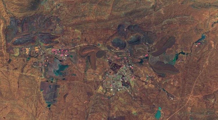 Quang cảnh mỏ khai khoáng Bạch Vân Ngạc Bác từ vệ tinh giám sát, ngày 16/8/2019. Ảnh: EU/Copernicus Sentinel.