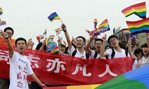 Nhóm vận động vì quyền lợi của người đồng giới Trung Quốc. Ảnh: AFP.