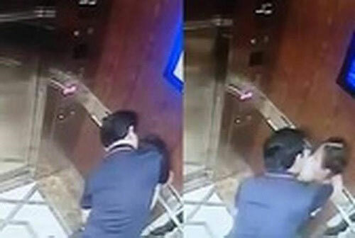 Hình ảnh trong thang máy được cameraghi lại.
