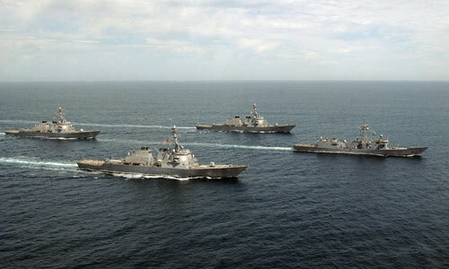 Một nhóm tàu khu trục Mỹ hoạt động trên biển. Ảnh: US Navy.