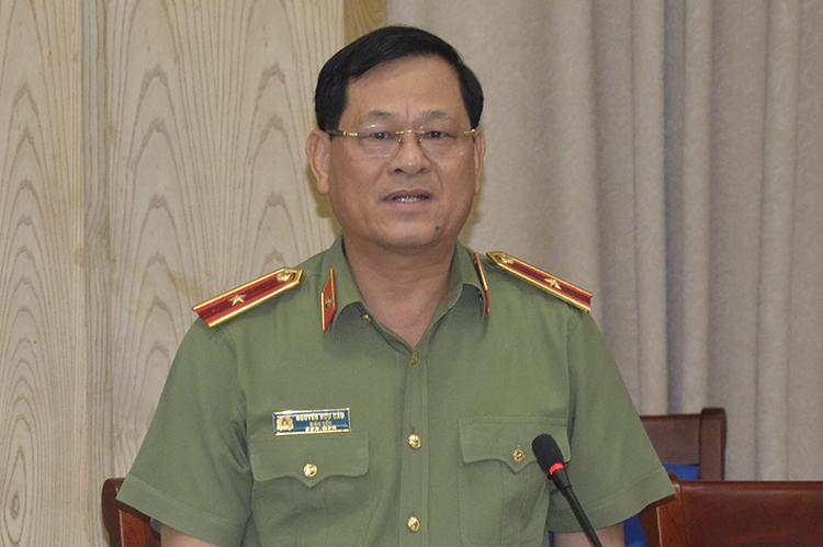 Thiếu tướng Nguyễn Hữu Cầu tại buổi làm việc chiều 22/8. Ảnh: PV.