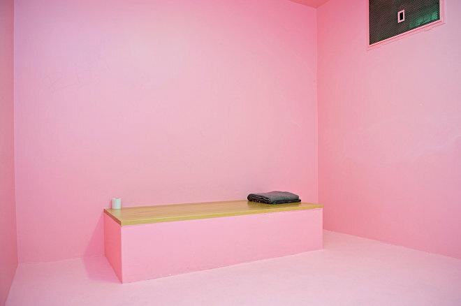 Sắc Hồng Mát Dịu được sơn lên tường buồng giam. Ảnh: Dold AG Switzerland.