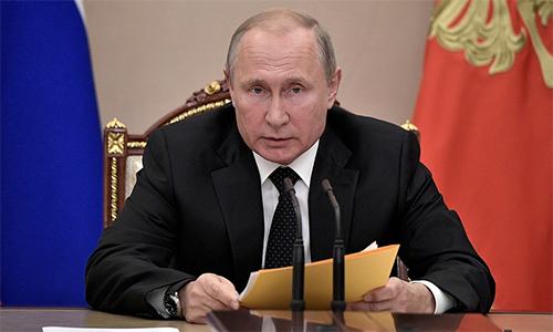 Tổng thống Vladimir Putin trong buổi họp với Hội đồng An ninh Nga ngày 23/8 tại Moskva. Ảnh: Điện Kremlin.