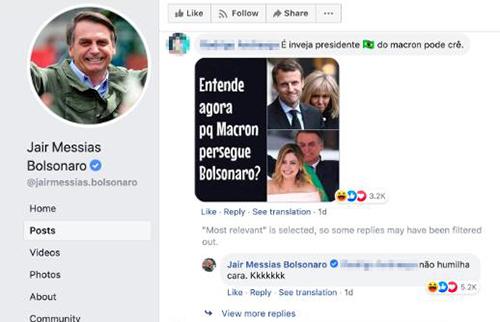 Bức ảnh và bình luận gây chỉ trích trên Facebook ông Bolsonaro. Ảnh: Facebook Jair Bolsonaro