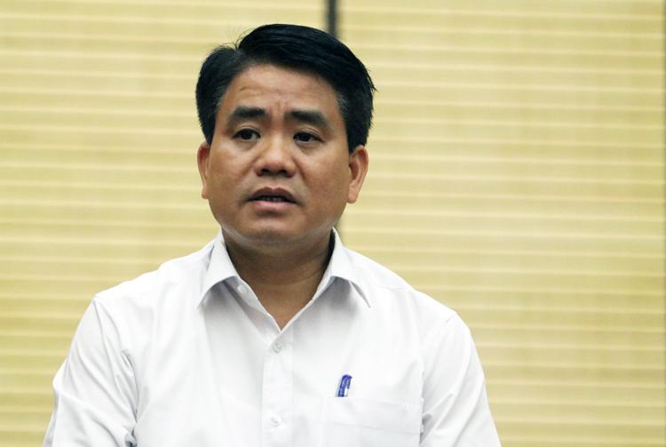 Chủ tịch UBND TP Hà Nội Nguyễn Đức Chung tại buổi thông tin chiều 27/8. Ảnh: Võ Hải.