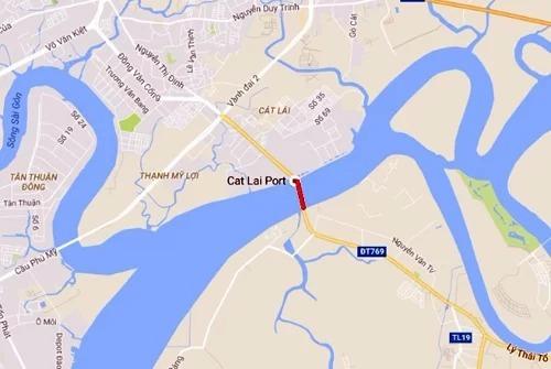 Cầu Cát Lái (đường màu đỏ) tăng kết nối giao thông TP HCM với các tỉnh miền Đông Nam Bộ. Ảnh: Google maps.