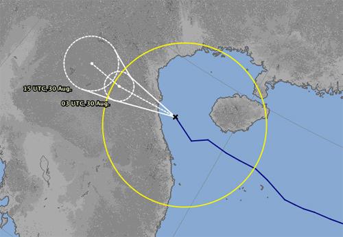 Đài Nhật Bản dự báo đường đi và khu vực ảnh hưởng của bão. Ảnh: