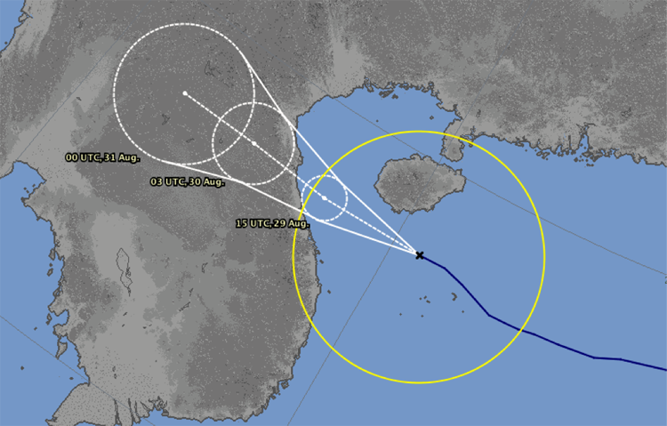Dự báo hướng đi và thời gian đổ bộ vào các tỉnh miền Trung của đài dự báo Nhật Bản.