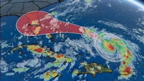 Hướng di chuyển của bão Dorian trên biển Đại Tây Dương hôm 29/8. Ảnh: The Weather Channel.
