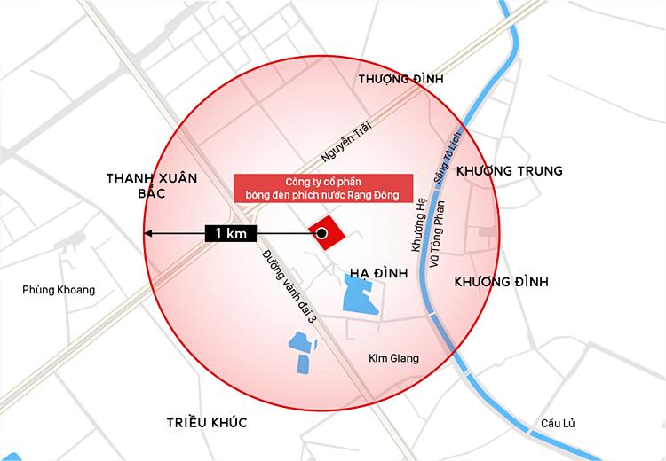 Bán kính 1 km quanh đám cháy. Đồ họa: Việt Chung.