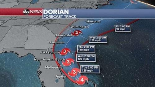 Bão Dorian dự kiến di chuyển dọc ven biển các bang Florida, Georgia, Bắc Carolina và Nam Carolina của Mỹ. Ảnh: ABC.