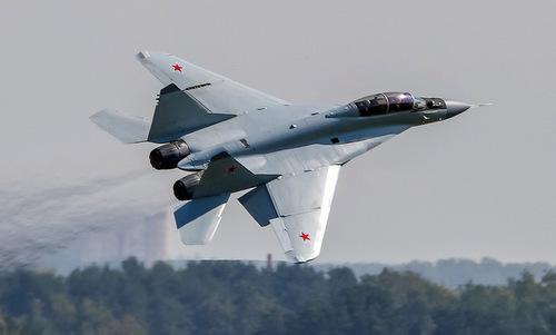 Tiêm kích MiG-35 bay biểu diễn tại triển lãm MAKS hôm 31/8. Ảnh: Marina Lystseva.