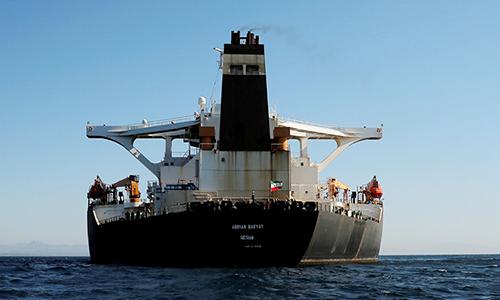 Siêu tàu dầu Adrian Darya 1 thả neo ngoài khơi lãnh thổ Gibraltar của Anh ngày 18/8. Ảnh:Reuters.
