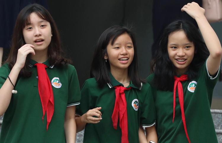 Học sinh Trường Liên cấp Tiểu học & THCS Ngôi Sao Hà Nội trong lễ khai giảng sáng 5/9. Ảnh: Ngọc Thành