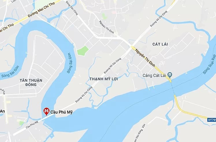 Các tuyến đường ra vào cảng Cát Lái thường xuyên ùn tắc do lượng phương tiện quá đông. Ảnh: Google maps.