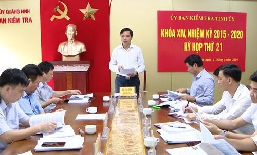 Ông Vũ Văn Diện, Chủ nhiệm Ủy ban Kiểm tra Tỉnh ủy Quảng Ninh chủ trì kỳ họp thứ 21. Ảnh: Minh Toàn