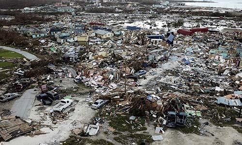 Cảng Marsh ở quần đảo Abacos, Bahamas saubão Dorian ngày 5/9. Ảnh: AP.