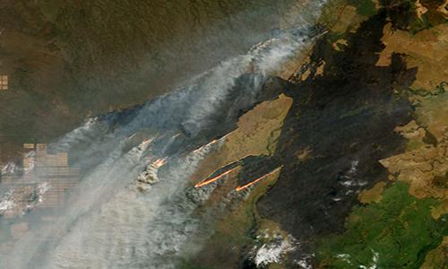 Cháy rừng Amazon gần biên giới Bolivia, Paraguay và Brazil nhìn từ vệ tinh. Ảnh: NASA.