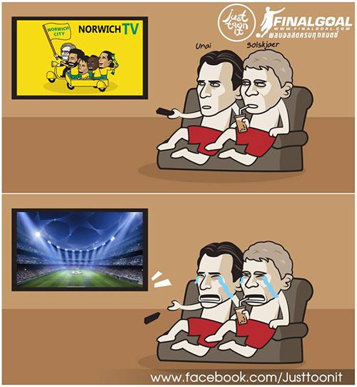 MU và Arsenal khóc ròng khi phải ngồi nhà xem Cup C1 qua tivi.