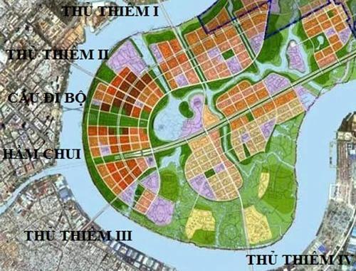 Theo quy hoạch sẽ có 5 cây cầu và một hầm chui nối trung tâm và các quận khác với khu đô thị mới Thủ Thiêm (quận 2). Ảnh: BQL Đầu tư xây dựng khu đô thị mới Thủ Thiêm