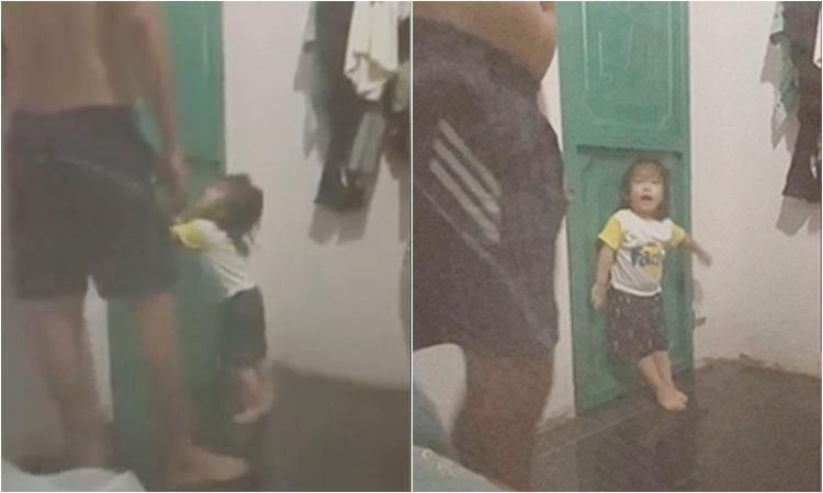 Con gái chặn cửa quyết không cho bố đi nhậu -