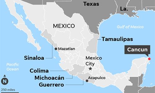 Vị trí thành phố Cancun trên bản đồ. Đồ họa: USA Today.