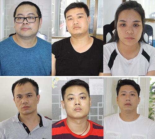 Trương Tuệ Mẫn (bìa trái, góc trên) cùng đồng phạm. Ảnh: C.A.