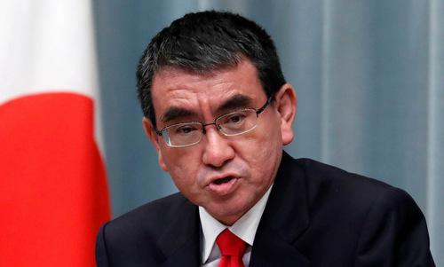 Bộ trưởng Kono họp báo tại Tokyo hôm 11/9. Ảnh: Reuters.