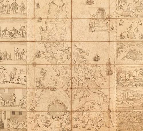 Tấm bản đồ cổ Philippines năm 1734. Ảnh: BBC