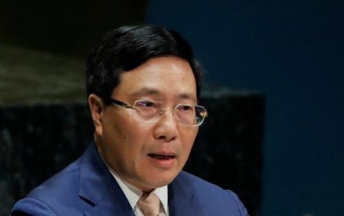 Phó thủ tướng, Bộ trưởng Ngoại giao Phạm Bình Minh phát biểu tại Đại hội đồng Liên Hợp Quốc ở New York, Mỹ hôm 28/9. Ảnh: Reuters.
