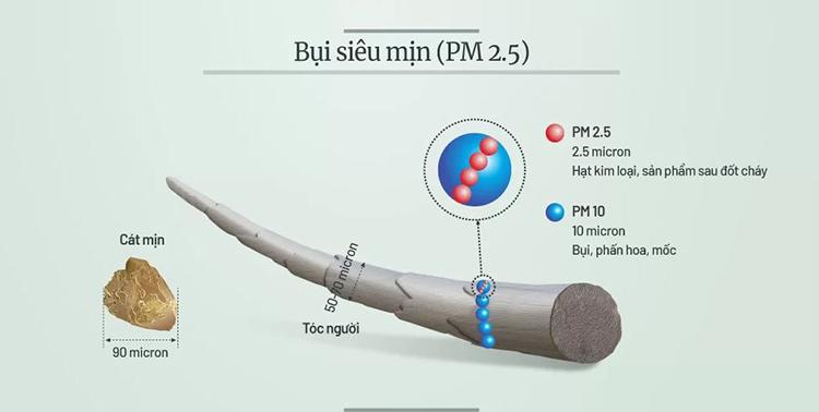 Tác hại của bụi siêu mịn PM2.5 trong không khí. Đồ họa: Tiến Thành.