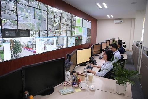 Màn hình chính tại Trung tâm giám sát điều hành đô thị thông minh Huế.