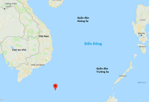Vị trí bãi Tư Chính của Việt Nam (dấu đỏ). Đồ họa: Google Maps.