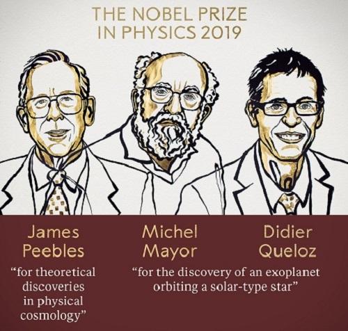 Ba nhà khoa học đoạt giải Nobel Vật lý 2019. Ảnh: Twitter.