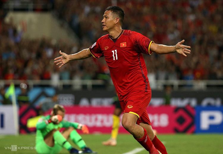 Anh Đức ghi bàn trong cả hai trận gần nhất đối đầu Malaysia tại Mỹ Đình.
