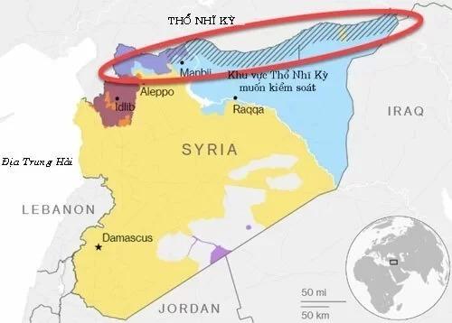 Thổ Nhĩ Kỳ muốn đẩy YPG ra khỏi khu vực biên giới phía nam giáp Syria. Đồ họa:HAL.