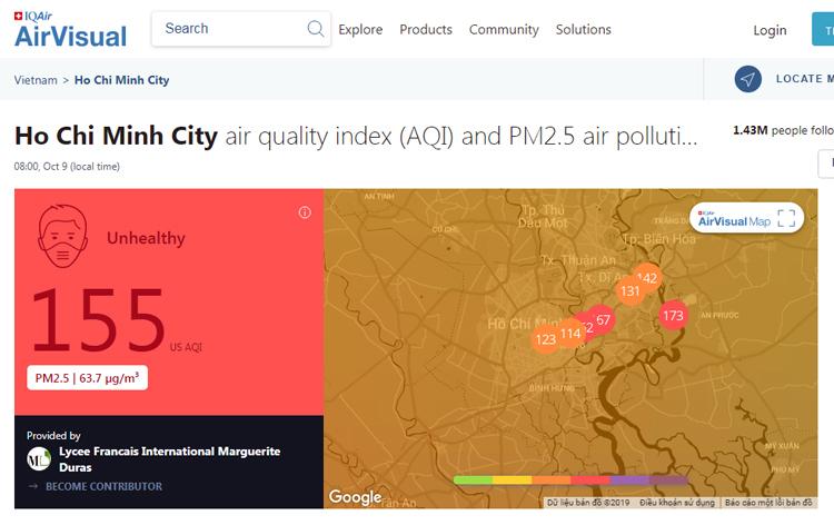 Cảnh báo mức độ ô nhiễm không khí tại TP HCM trên trang AirVisual lúc 9h20 sáng 9/10.