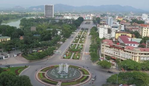 Trung tâm thành phố Thái Nguyên nhìn từ trên cao.