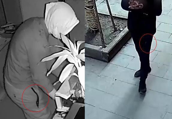 Dải phản quang phần miệng túi quần của nghi phạm. Ảnh: CCTV.