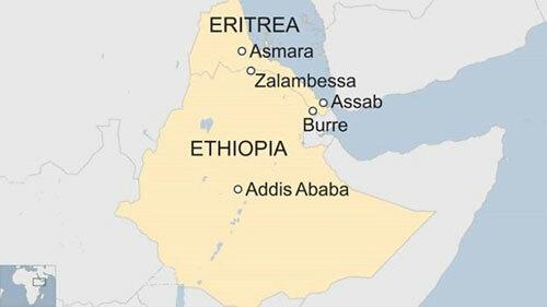 Vị trí Ethiopia và nước láng giềng Eritrea ở vùng Sừng châu Phi. Đồ họa: BBC