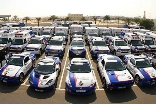 Đội xe của lực lượng cứu hộ cứu nạn Dubai. Ảnh: Twitter